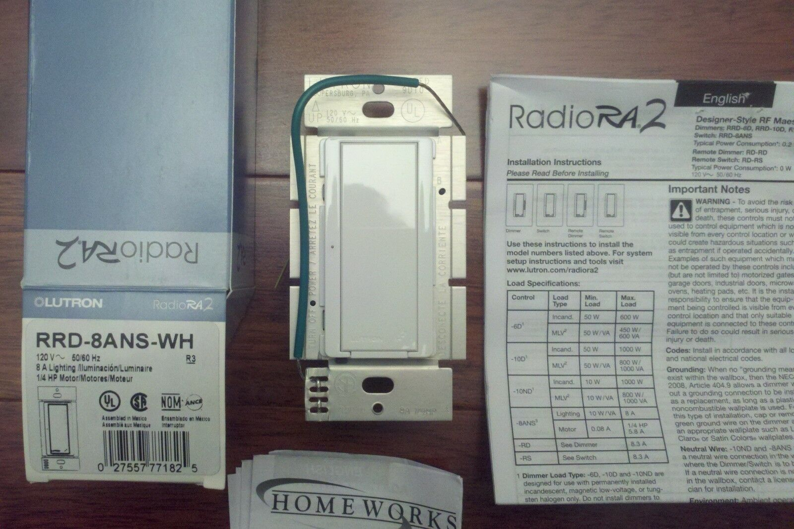 Lutron Rrd 8ans Wh Radiora 2 Neutral Wire Switch 8a White Ebay 3 Way Norton Secured Powered By Verisign