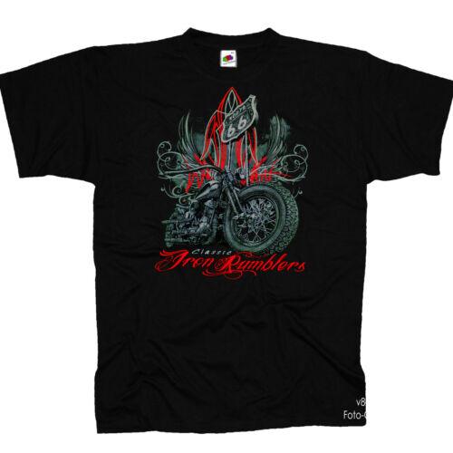 Biker Harley-Panhead-Motiv Bike Old School Motorrad Bobber T-Shirt *4296 bl
