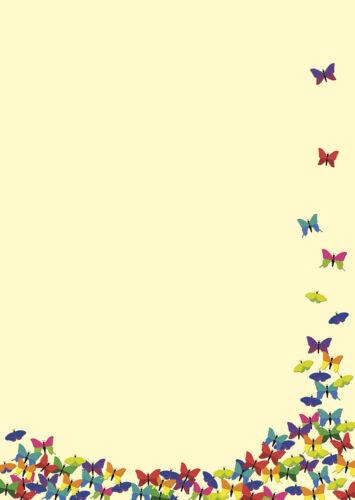 A4 Frühling butterfly Motivpapier Briefpapier viele bunte Schmetterlinge 20 Bl