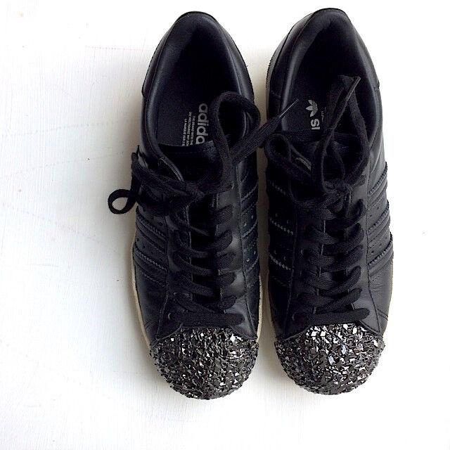 ADIDAS Sneaker Superstar Superstar Superstar schwarz Glitzerkappe Metal Toe Silber 80´s Leder 36 2/3 c19e50