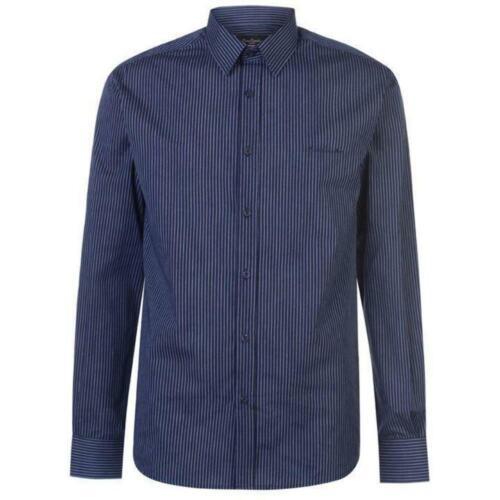 S M L XL 2XL 3XL Mens Pierre Cardin Shirt Long Sleeve Navy Gingham 5 Colours