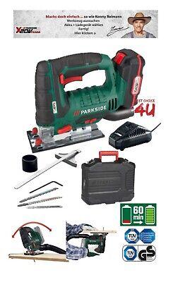 Parkside Cordless Jigsaw 20V 2Ah Li-Ion Battery Charger PSTDA Accessory Case New