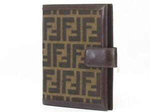 640db5056e33 Image is loading Auth-FENDI-Zucca-Canvas-Note-Agenda-Cover-Leather-