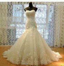 New White/Ivory Lace mermaid wedding dress Bridal Gown Size 4-18 UK
