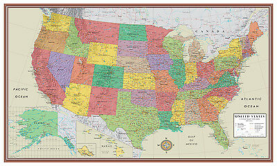 US Contemporary Elite Wall Map Large Mural Poster Art Decor USA United States