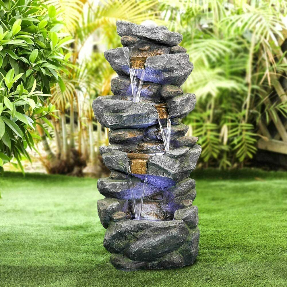 Lawn and Garden By Pure Garden Outdoor Water Fountain With Stone Waterfall Natural Looking Rock and Soothing Sound for Decor on Patio