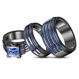 Image Is Loading Black Gold Over Blue Sapphire Wedding Bridal Band