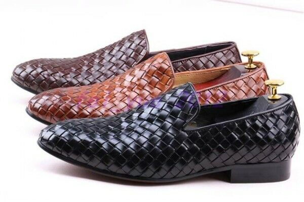 Scarpe casual da uomo  US 5-12 uomos Woven Leather Flat Slip on Business Casual Shoes Loafers Moccasins