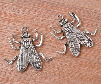 10pcs Tibetan silver charm fly beads pendant fit Jewelry 25mm A3153