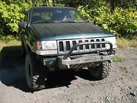1993-98 Jeep Grand Cherokee Zj Shorty Winch Bullbar Front Bumper