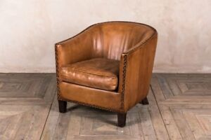 Details About Leather Tub Armchair Brass Studded Bucket Chair Upholstered Tan Leather Chair