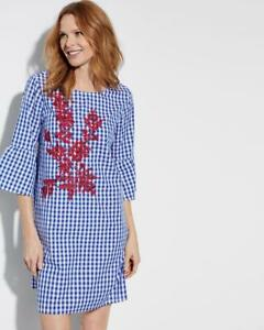 Chelsea-amp-Theodore-Bell-Sleeve-Embroidered-Shift-Dress-Blue-White-Cotton-NWT-98