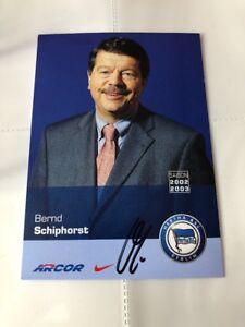 2003 Hertha Bsc Berlin Neue Mode Autogrammkarte Org Signiert Bernd Schiphorst 2002