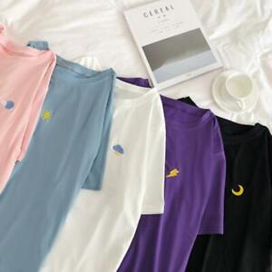 Women-Girl-Korean-Summer-Heart-print-casual-T-shirt-short-sleeve-Blouse