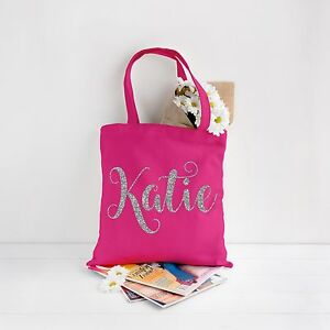 f66ab0d2ca49 Image is loading Personalised-Canvas-Tote-Bag-Glitter-Custom-Name-Party-