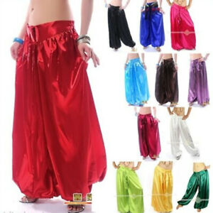 Belly-Dance-Satin-Harem-Pants-Tribal-Dancer-Costume-Yoga-Dancing-Satin-Trousers