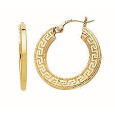 Greek Key Hoop Earrings 14k Yellow Gold