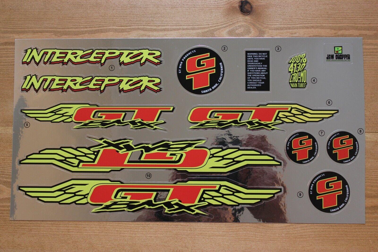 1995 Reproduction GT Interceptor Interceptor Interceptor BMX Decalcomania Set-CROMO SUPPORTO 76a21a