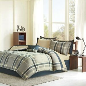 Navy Blue Khaki Plaid Boys Twin Comforter Set Toss Pillow