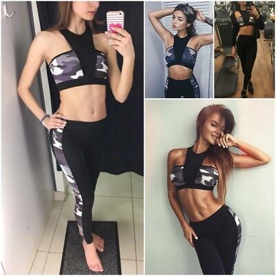 Women Crop Top Fitness Camouflage Print Tracksuit Sportswear Pants Yoga Set Suit