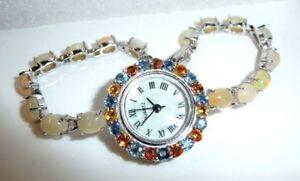 Edelstein-Armbanduhr-10-ct-Voll-Opale-2-2-ct-Saphire-925-Silber-Laenge-18-5-cm