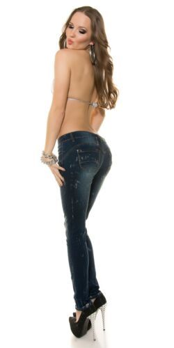 Jeans donna push up pantaloni denim elasticizzati stampa argento pant stretch
