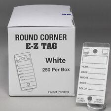 Carbowz Car Dealer Key Tags Self Laminating Round Corner White Color Tough Tags