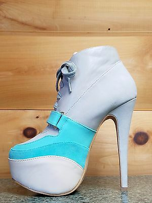 "Mona Mia Snaky Black Ankle Boot 6/"" Platform High Heel Shoes 7-11"