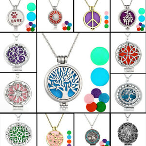 Hollow Aromatherapy Essential Oil Diffuser Perfume Locket Pendant Necklace Charm