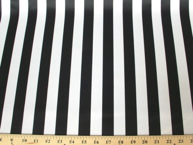 BLACK WHITE STRIPED DULL BRIDAL SATIN FABRIC $6.99/YARD