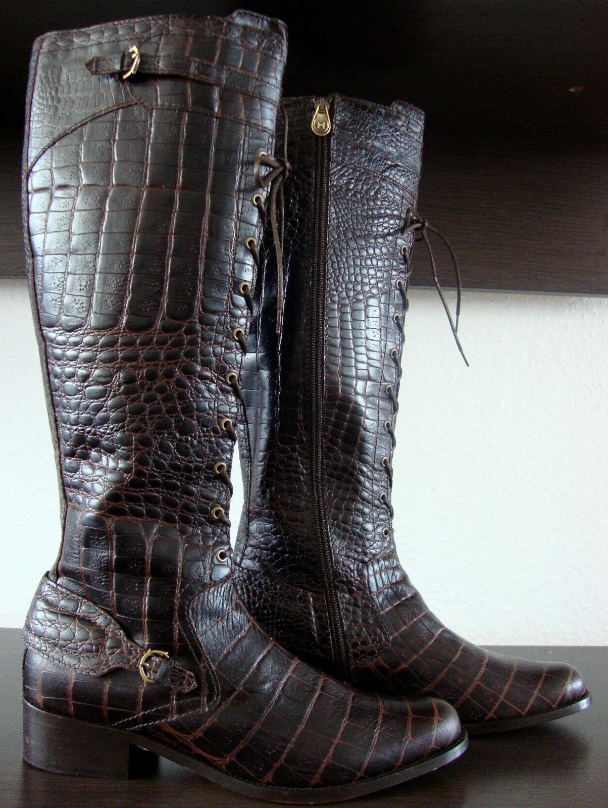 HUNTER BEAUFORT CROCO Chocolate Knee High Stiefel Damen Leder Stiefel Gr.40 NEU