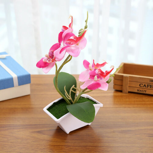 Artificial Butterfly Orchid Flower Home Decor Fake Bonsai With flower pot In FA