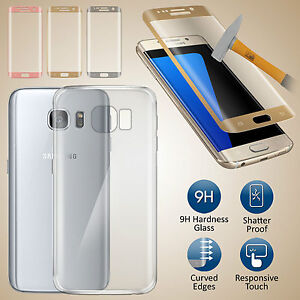 Ultra-Thin-Clear-TPU-Gel-Case-Cover-amp-Tempered-Glass-For-Samsung-Galaxy-S7-Edge