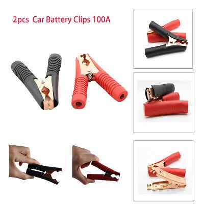 2PCS 100A Copper Car Battery Terminal Test Lead Clip Crocodile Alligator Clamp B