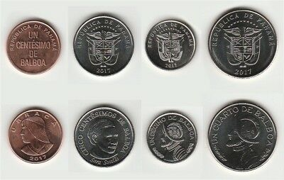 PANAMA SET 5 COINS 1 5 10 25 50 CENTIMOS 2017-2018 UNC