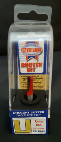 Faithfull Router Bit TCT Two Flute 6.0mm x 16mm 1//4in Shank