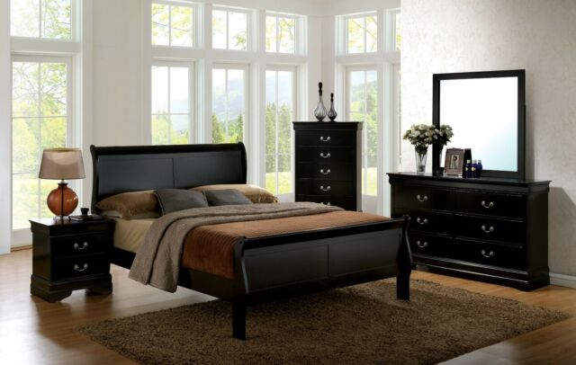 Est King Size Master Bedroom Furniture Set Solid Wood Veneer Black Finish  Bed