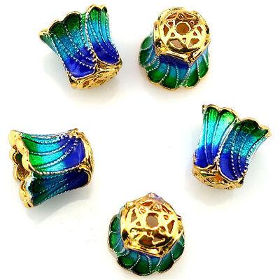 5Pcs Golden Tone Blue Enamel Flower Bead Cap Charms DIY Alloy Bead 5//8//10mm