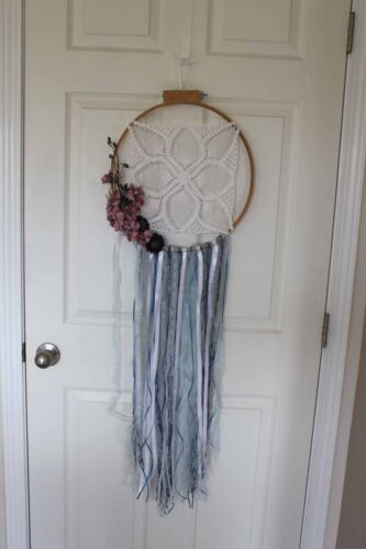 "Shabby Chic Boho dream catcher flowers lace ribbon doily 14"" country blue mauve"
