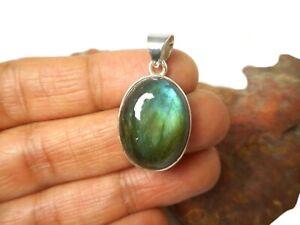 Oval-LABRADORITE-Sterling-Silver-925-Gemstone-Pendant