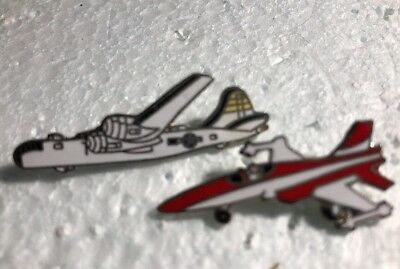 Metal  Airplane Brooches//Lapel Pins MAFCO 2 Vintage Enamel