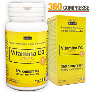VITAMINA D3 integratore alto dosaggio 2000 UI 360 COMPRESSE - Prodotto in ITALIA