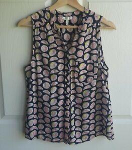 Joie-Womens-Cotton-Navy-Pink-Grapefruit-Printed-Mireio-Blouse-Top-Shirt-Size-XS