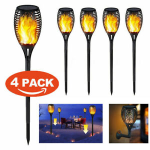 Lot-de-1-2-4-DEL-etanche-clignotante-flamme-Solaire-Torche-Lumiere-Lampe-de-jardin-outdoor