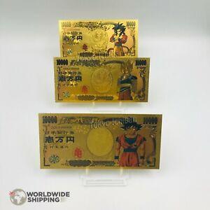 Lot-3-x-Billet-de-10000-Yen-Dragon-Ball-Z-DBZ-Gold-Carte-Card-Carddass-Goku