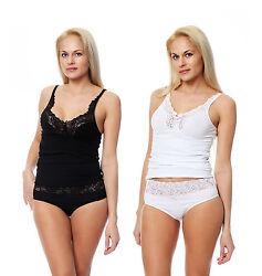 Damen Slip mit Spitze oder passendes BH-Hemd mit Spitze , Größe 38-48 .