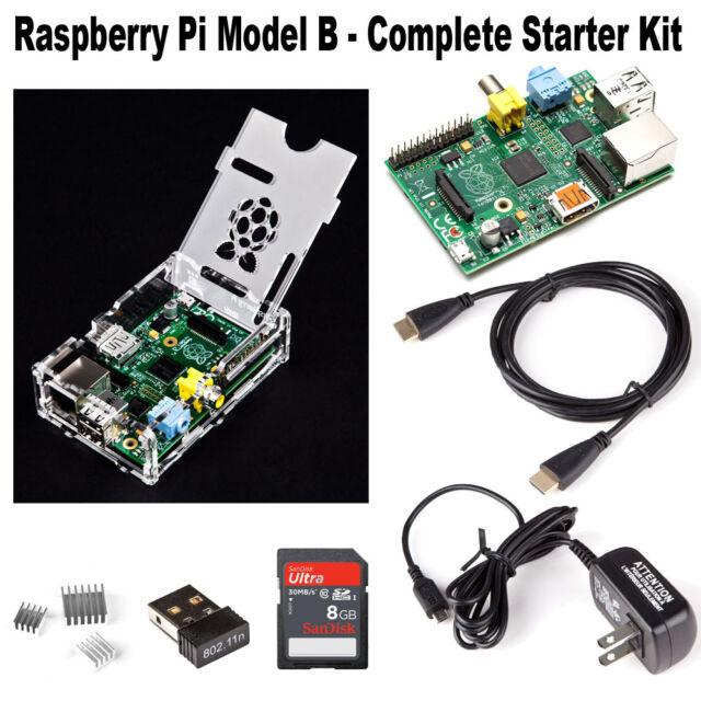 Raspberry Pi Model B Complete Starter Kit 8Gb Class 10 SD Card Free Shipping