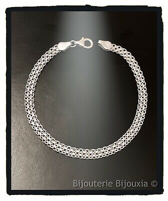 Bracelet Maille Tressée 3 fils Argent Massif 925//000 Bijoux Femme NEUF