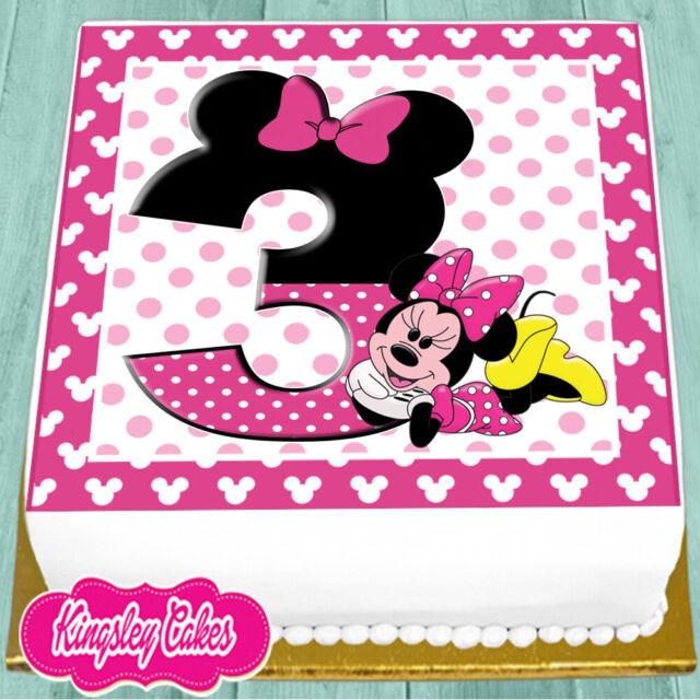 Minnie Mouse Birthday Cake.Precut Edible Icing 7 5 Inch Minnie Mouse 3rd Happy Birthday Cake Topper Ns0992