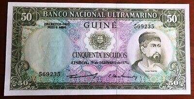 PORTUGUESE GUINEA 50 ESCUDOS 1971 P 44 CRISP BUT AUNC